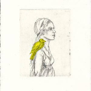 Selbstportrait mit Rabe. Eine Radierung der Künstlerin Maren Rombold.